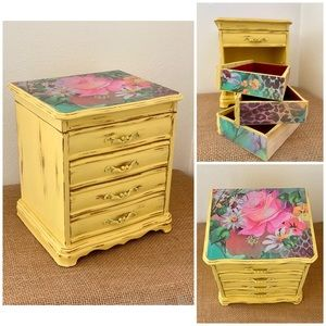 Updated Jewelry Box • Rustic • Yellow • Floral